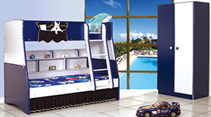 162 Blue Flag Bunk Bed Collection